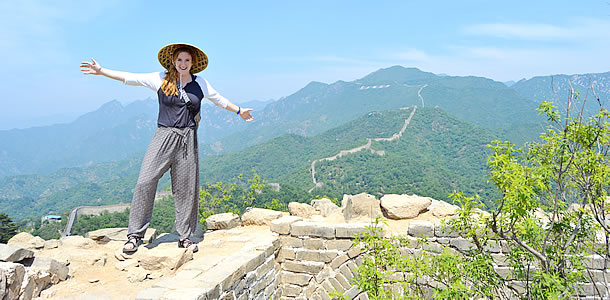 Student on Great Wall of China
