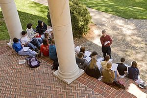Class outside Evans hall