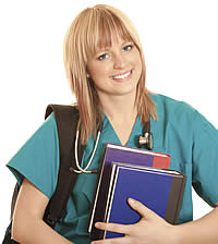Nursing student with books and backpack