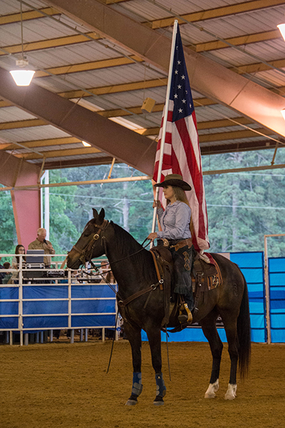 01 - Woman on horse with flag