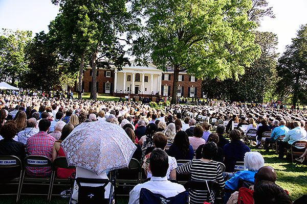 08 - The audience at commencement with view of Evans Hall