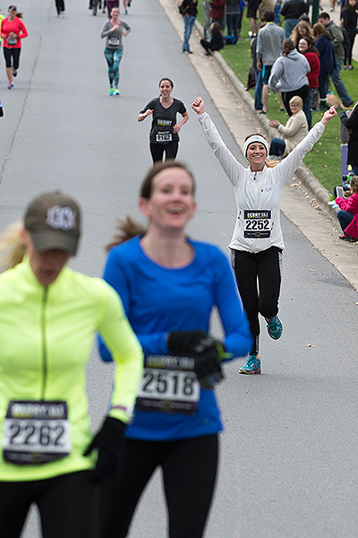 10 - Runner celebrating being close to finish line