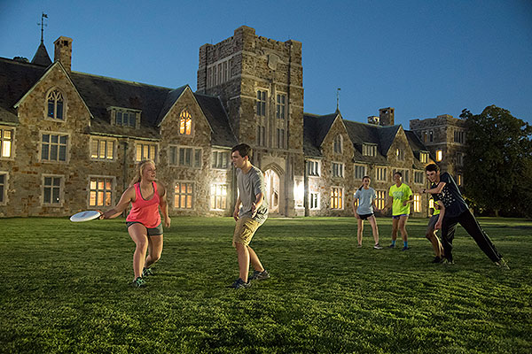 07 - Students playing frisbee at dusk