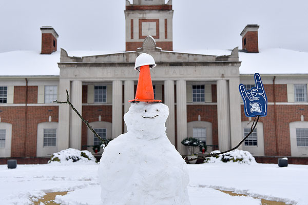 05 - Snowman in front of Hermann Hall