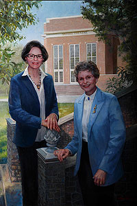Painting of Audrey Morgan and her sister