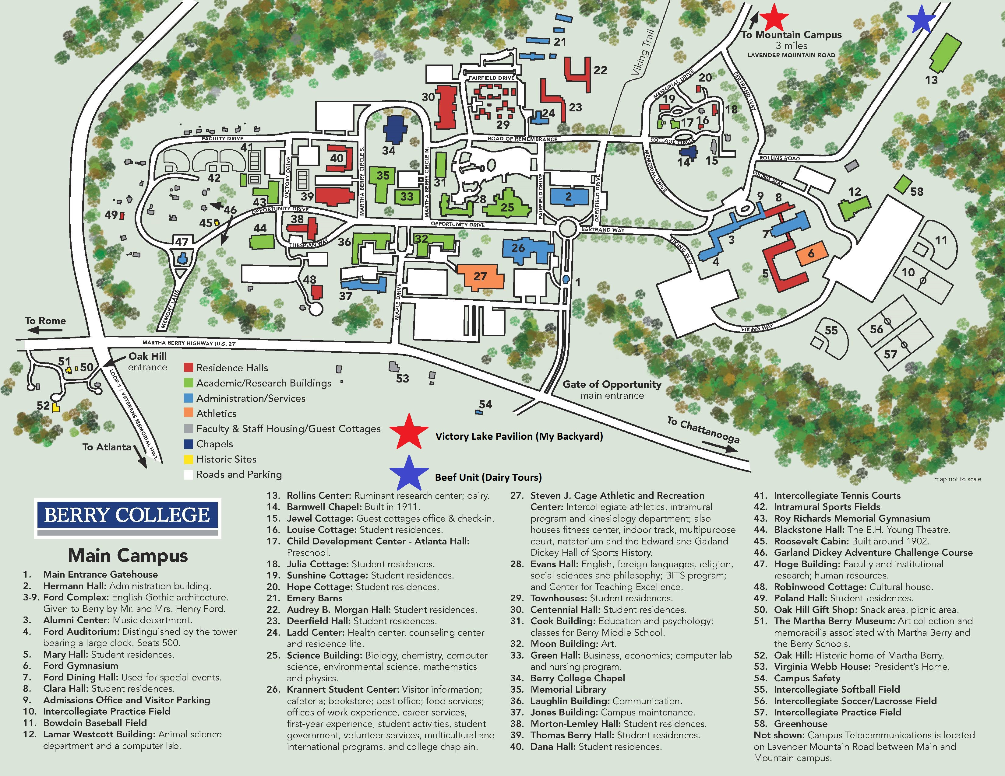 Berry College Campus Map Berry College  Getting Started