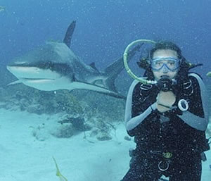 Carley Carder with lurking shark